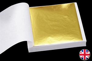 100-Sheets-Gold-Leaf-Foil-9cm-Square-Craft-Gilding-UK-Stock