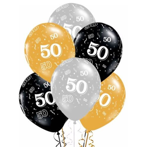 30th 40th 50th Birthday Balloons Decorations  Bouquet Mixed Gold Silver Black