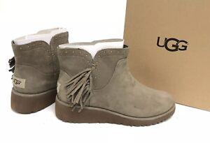 7f0955970fd Details about Ugg Australia Cindy Fringe Spruce Womens Leather Ankle Boots  Fringe 1019063 8