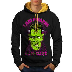 Contrast Frank Men Black Alive Zombie Hood gold Hoodie New Dead cZqcIPav