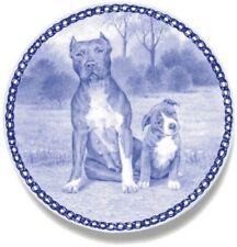 American Pit Bull Terrier & Puppy: Danish Blue Porcelain Plate #3081