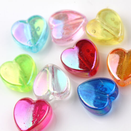 Wholesale 50//100PCS Colorful Plated Heart Loose Beads Jewelry Scrapbooking DIY