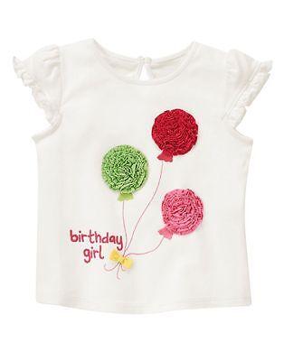 NWT Gymboree BIRTHDAY White Embroidered Balloon Top Shirt