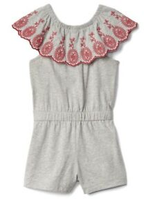 d9140d15fac Gap Baby Girl   Toddler Ruffle Sleeve Eyelet Romper Gray Red Size 5T ...