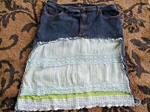 44f220ba5f86f6 Custom Denim Skirt Layers Vtg Lace Made of Jeans Size~18 20 XXL Boho ...