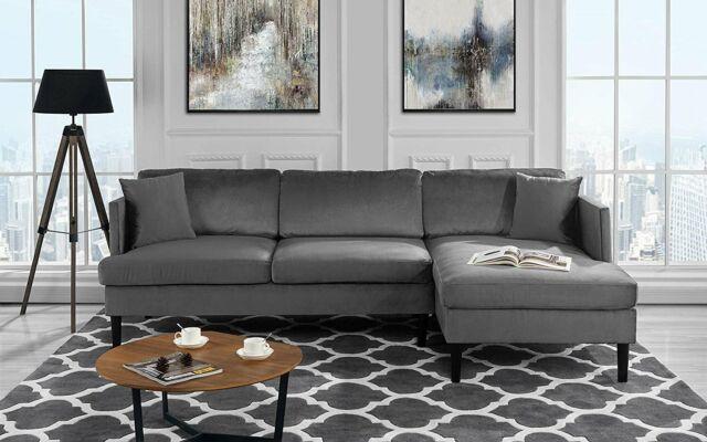 Mid Century Modern Velvet Sectional Sofa, L-Shape Couch with Hardwood Frame  Grey