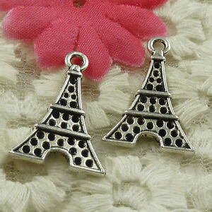 #4611 Free Ship 55 pieces Antique silver tower charms 25x17mm