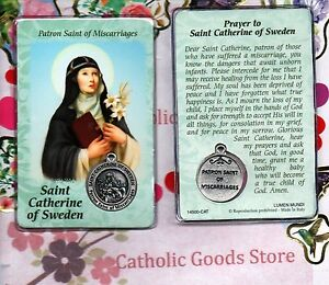 saint st catherine of sweden with medal prayer plastic coated