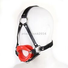 Leather Strap Sexy Red Lip Open Mouth Gag Bondage Head Harness Restraint SM Gift