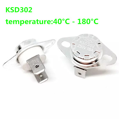 16A 250V KSD302 40°C~180°C Thermostat Temperature Thermal Control Switch NO//NC