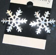 LARGE WINTER SNOWFLAKE STUD EARRINGS festive studs SILVER TONE big 2.3cm metal