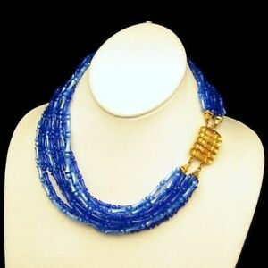 Vintage-8-Multi-Strand-Pretty-Blue-Acrylic-Beads-Chunky-Wide-Necklace