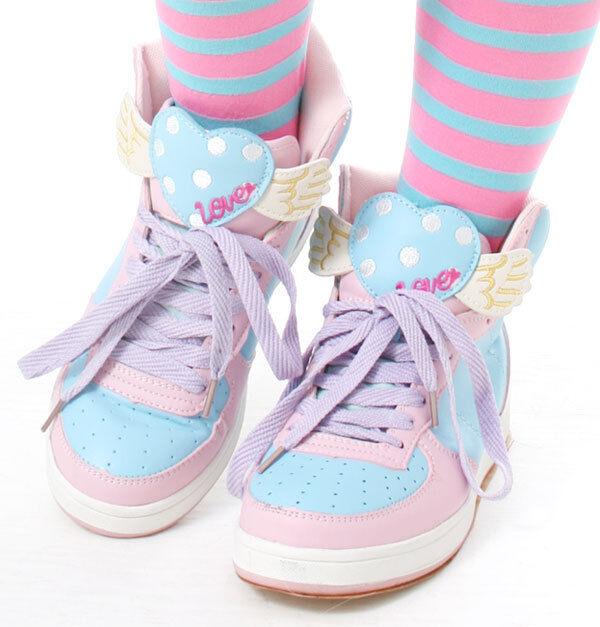 Cutie Kawaii Decora Sweet Heart Wing Pastel Pink Purple Hi Top Sneaker Teen Amo