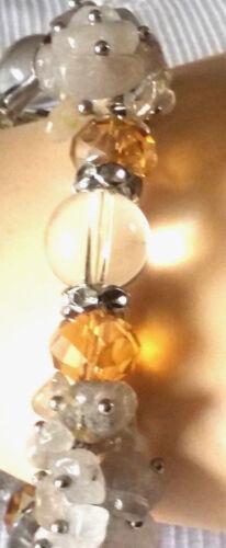 Bracelet élast.Pierres Existe Coll,B.O.,Bag Semies PrécieusesCitrine et cristal