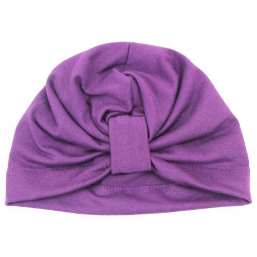 Newborn Baby Girls Turban Bow Knot Head Wrap Hat Cotton Cap Headband New