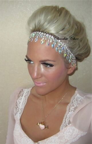 Iridescent Silver Dangle Tear Drop Diamond Hair Head Band Bride Choochie Choo