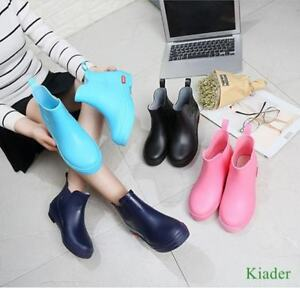 Korean-Womens-Pull-On-Waterproof-Ankle-Rain-Boots-Flats-Antiskid-Casual-Shoes-SZ