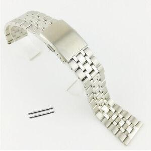 Lady-Edelstahl-Metall-Uhrenarmband-Armband-Ersatz-Strap-Schnabel-Verschluss