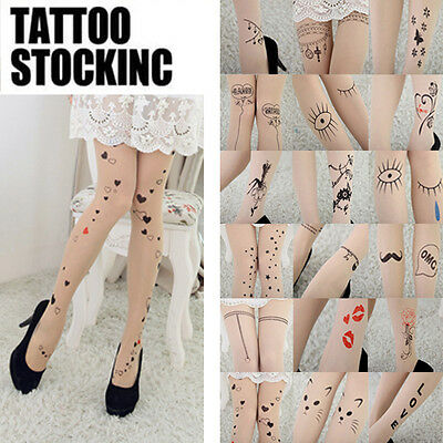 Fashion Tattoo Pattern Transparent Sheer Pantyhose Tights Sexy Stockings New