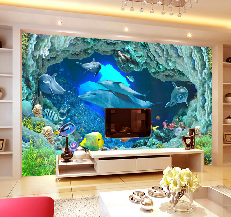 3D Riff Meeresdelfin 578 Tapete Tapeten Mauer Foto Familie Tapete Wandgemälde DE