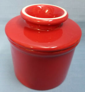 Butter-Keeper-Crock-Keeper-Dish-L-Tremain-Red-Kitchen-Stoneware-4-034-Bell-Shape