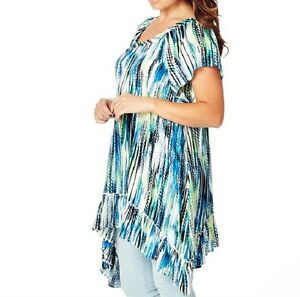 Flowing-Round-Neck-Ladies-Boho-Chic-Style-Flutter-Sleeve-Tunic-Size-14-FREE-POST