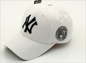 White New York Black Logo 6 panel Curved Peak Yankee Style NY ... e0be0ac9211