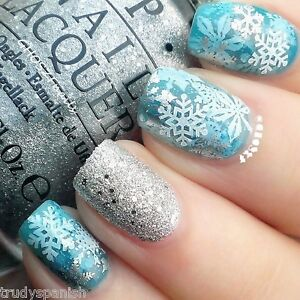Christmas-Snowflakes-Bows-White-Gold-Silver-3D-Nail-Art-Stickers-Decals-Transfer