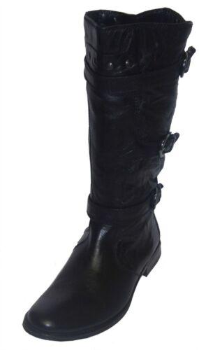Damen S-077 Stiefel Ladies Black Leather Boots R17A