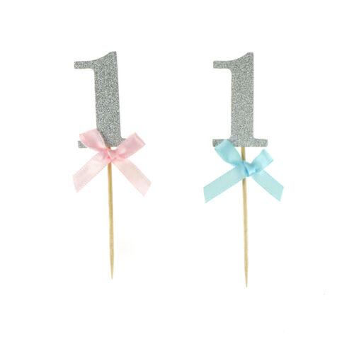 10X 1er anniversaire Cupcake Toppers Boy Girl 1 an fête d/'anniversaire d/'arg ZH