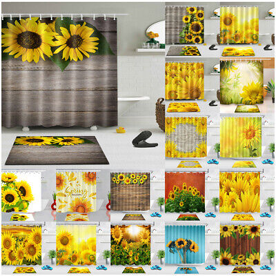 Fabric Waterproof Shower Curtain Set Bathroom Mat Sunflowers On Wooden Board