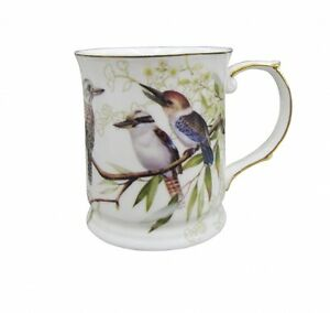 Australian-Bird-Series-Kookaburra-Gold-Edged-Fine-China-Mug-Coffe-Cup-Boxed