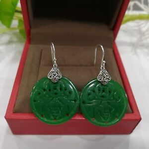 Pure-S925-Sterling-Silver-Green-Jadeite-Jade-Coin-Round-Dangle-Earrings