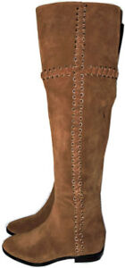 398-Michael-Kors-Malin-Eyelet-Laced-Boot-Over-Knee-Flat-Booties-7-5-Caramel