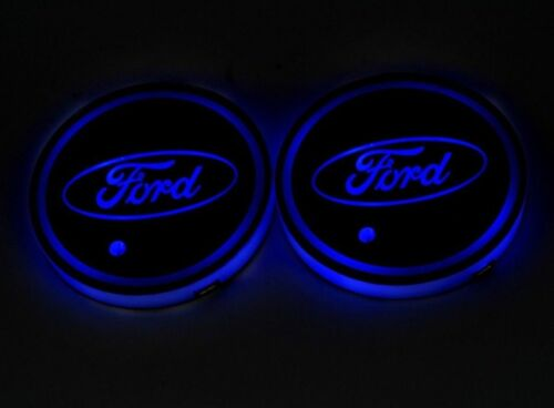 Colorful LED Car Cup Holder Pad Mat For FORD Auto Interior Atmosphere Lights