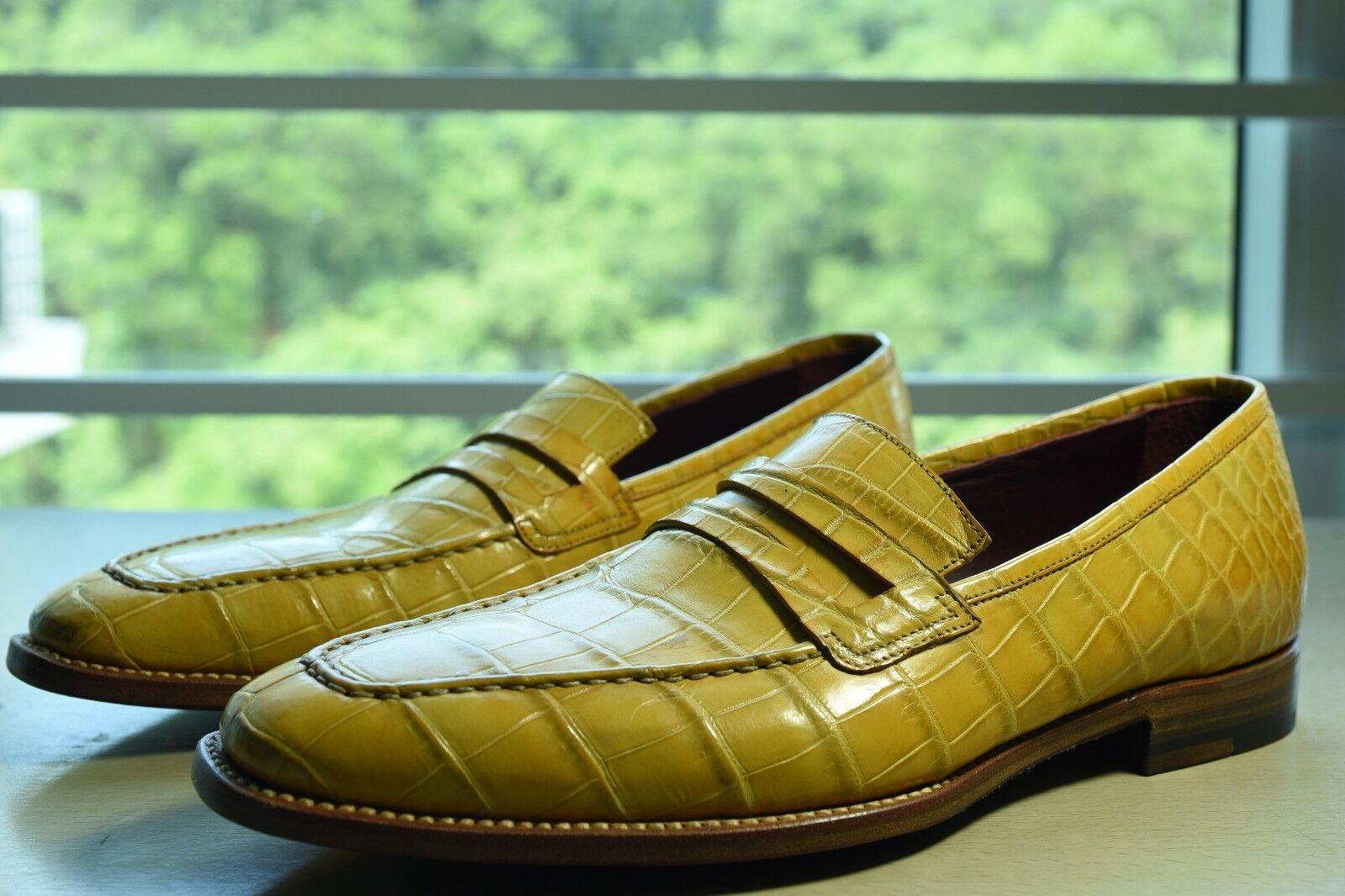 NIB Kiton crocodile penney loafer 7