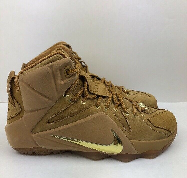 Nike xii lebron xii Nike 12 größe 7 basketball - schuhe ext - weizen metallisches gold kaugummi. 269c99