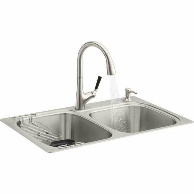 Kohler All-in-One Stainless Steel Kitchen Sink and Faucet - R75791-2PC-NA