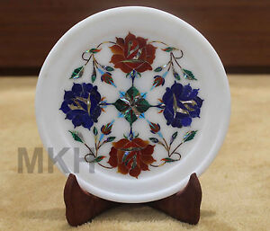 7-034-Marble-Serving-Tray-Plate-Lapis-Semi-Precious-Inlay-Gems-Agra-Pietra-Dura