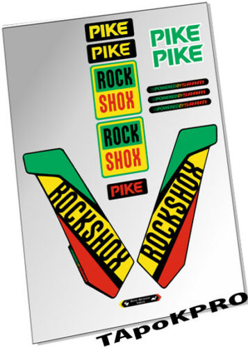 Brand New Custom RockShox Pike fork 27.5 rasta glossy lamination stickers decals