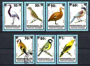 Oiseaux-Mongolie-35-serie-complete-de-7-timbres-obliteres