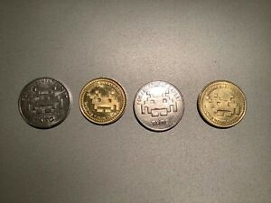 4 Arcade Game Tokens Coins Taito SPACE INVADERS Retro MAME Arcade 1UP