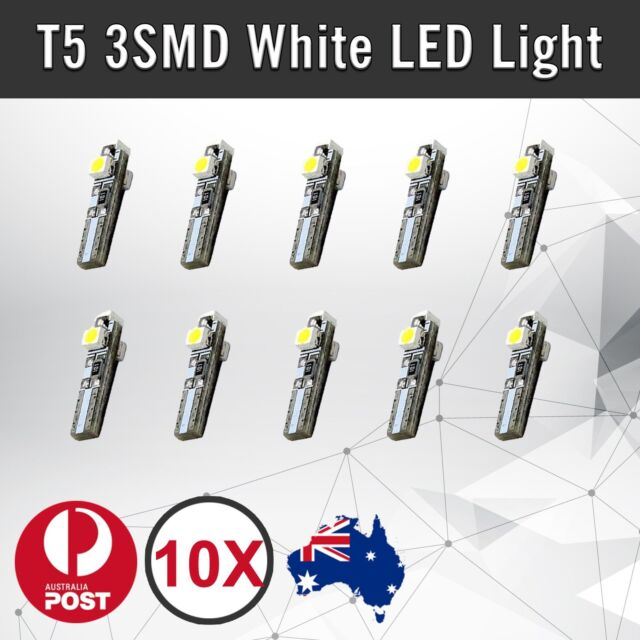 10pcs of  T5 White 3 SMD SUPER BRIGHT 3528 LED Side Car Light Wedge Bulb DC 12V