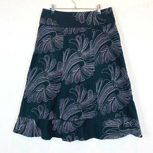 Liz-Jordan-Womens-Black-Floral-Long-Skirt-with-Side-Zipper-Size-12-W32