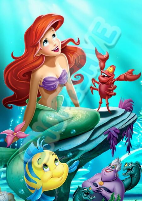 Personalised Name and Photo Princess Ariel Bedroom A4 or A3 Photo Wall Poster