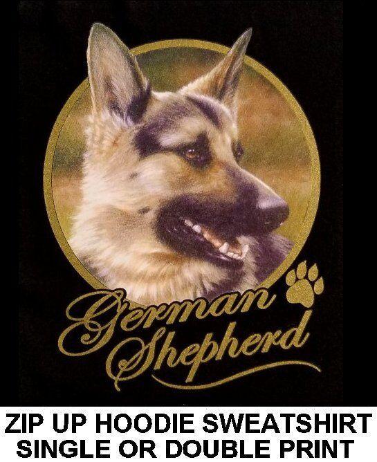 VERY CLASSY GERMAN SHEPHERD DOG ART GOLD LETTERING ZIP HOODIE SWEATSHIRT WS714