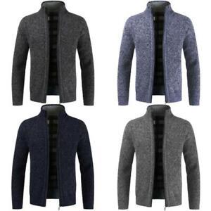 Mens-Winter-Funnel-Collar-Zip-Up-Fleece-Lined-Knitted-Warm-Cardigan-Jumper-Top