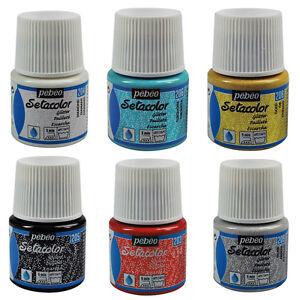 Pebeo-SETACOLOR-GLITTER-Light-Permanent-Fabric-Paint-45ml-10-Colours-Available