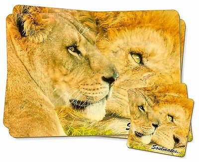 Affidabile Two Lions In Love 'soulmates' Twin 2x Placemats+2x Coasters Set In Gi, Soul-79pc