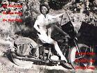 1940's Harley Davidson Motorcycle Pinup Girl 8X10 Matte Photo Man Cave SIGN PIC